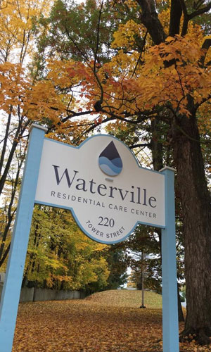 Waterville Residential Care Center sign in front of facility.