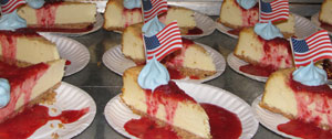A patriotic cheesecake for dessert.